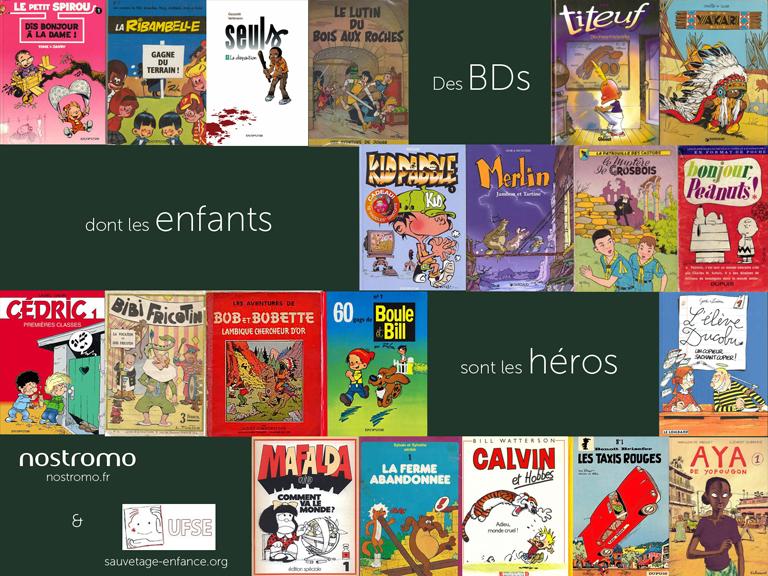L'agence de communication Nostromo vous propose un patchwork de bandes dessinees ayant des enfants pour heros