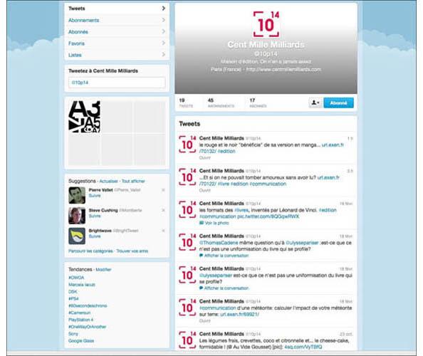 Nostromo, agence de communication, s'occupe de la strategie reseaux sociaux et du referencement de l'editeur independant Cent Mille Milliards et a concu et realise son site web marchand