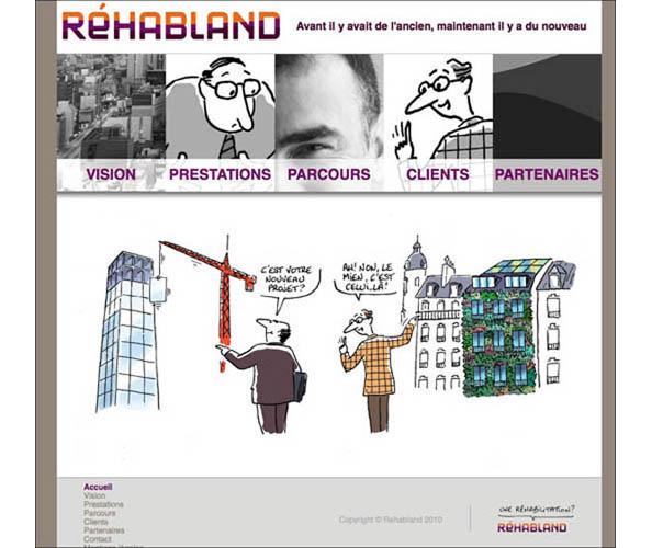 Nostromo agence de communication a conçu et réalisé le site web de réhabland