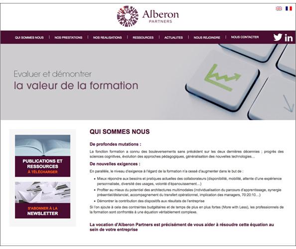 Nostromo, agence de communication, a élaboré le site web d'Aleberon Partners