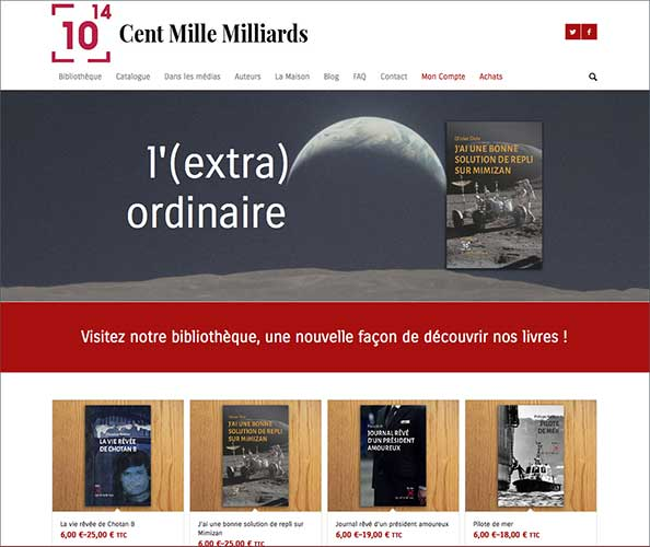 le site marchand de la maison d'edition cent mille milliards a ete realise par l'agence de communication Nostromo